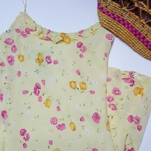 Ralph Lauren Yellow and Pink Floral Midi Dress